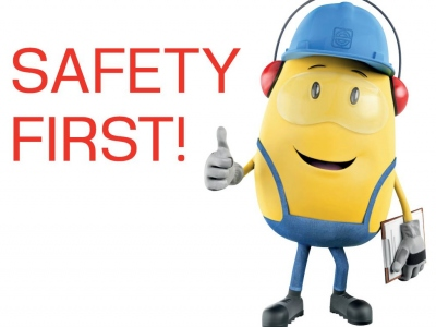 "HSEQ mascot ""Max"" with Safety first writing"